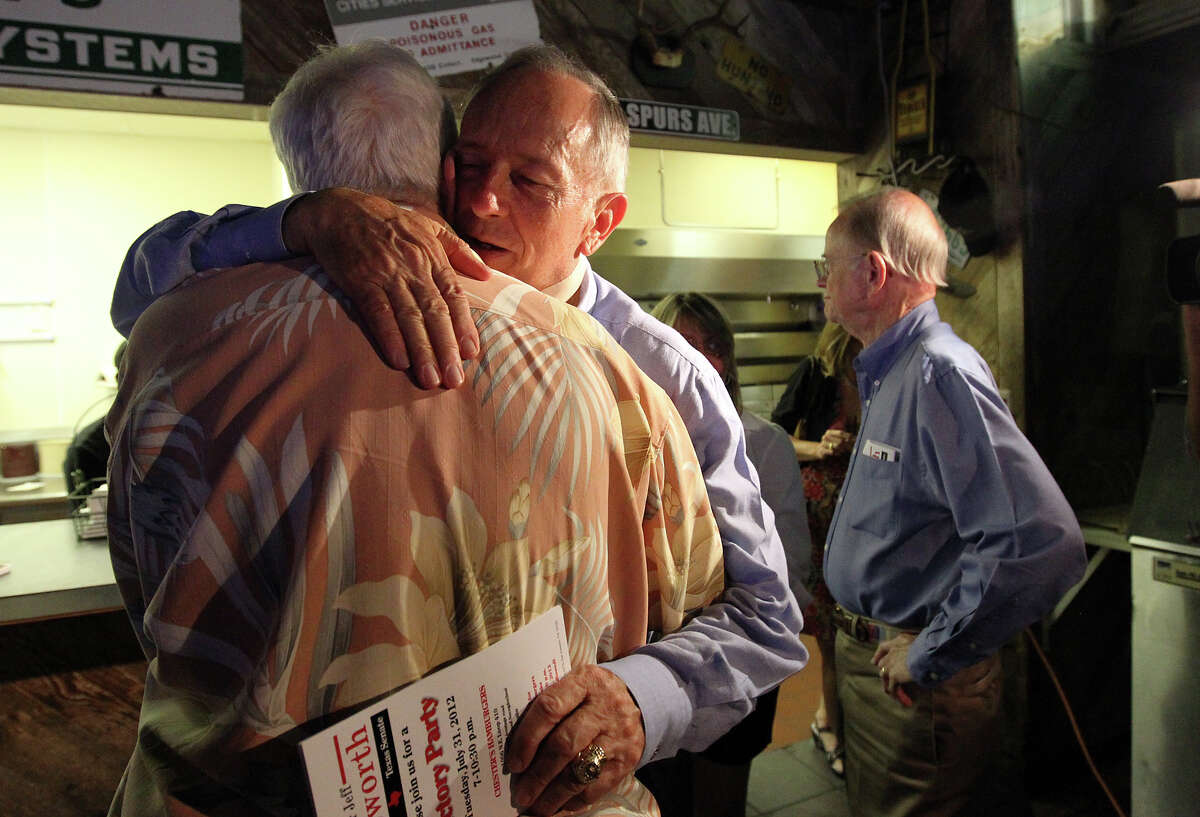 Texas Senator Jeff Wentworth hugs a supporter after addressing an audience at Chester's Hamburgers after getting results from the District 25 runoff election on Tuesday, July 31, 2012. Wentworth lost the race to Dr. Donna Campbell. Wentworth, 71, served in the Texas House since 1988. He has been a state senator since 1993.