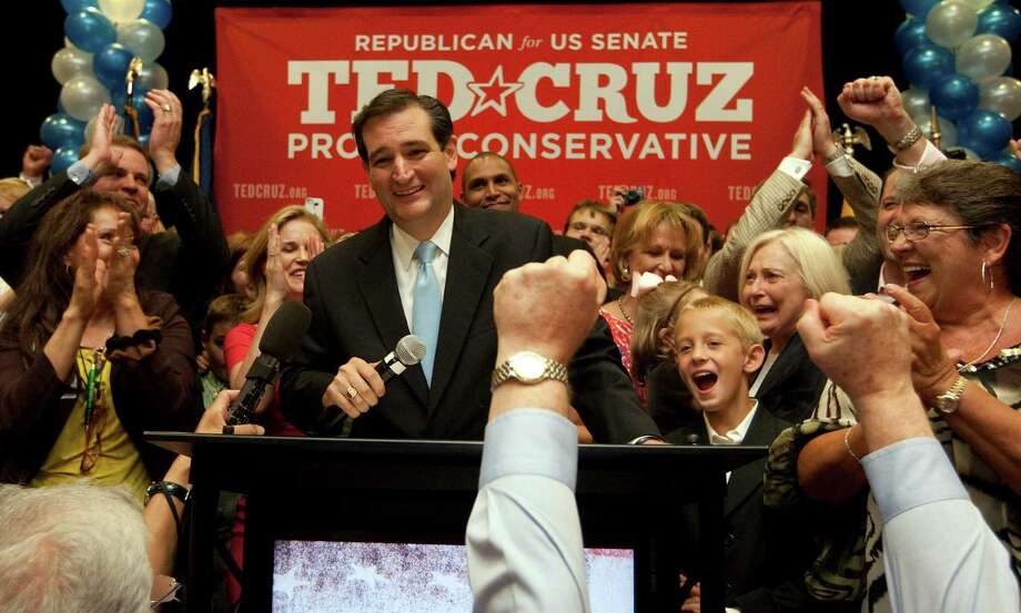 U.S. Senator candidate Ted Cruz and speaks to a cheerful crowd as Ted Cruz defeated Republican rival, Lt. Gov. David Dewhurst in a runoff election  for the U.S. Senate seat vacated by Kay Bailey Hutchison Tuesday, July 31, 2012, in Houston. Photo: Johnny Hanson, Houston Chronicle / © 2012  Houston Chronicle