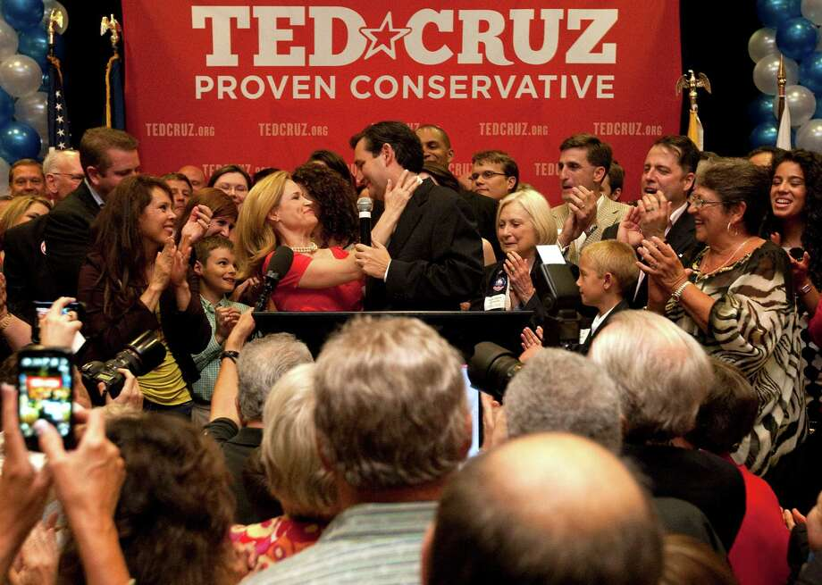 U.S. Senator candidate Ted Cruz thanks his wife while delivering his winning speech to a cheerful crowd as Ted Cruz defeated Republican rival, Lt. Gov. David Dewhurst in a runoff election for the U.S. Senate seat vacated by Kay Bailey Hutchison Tuesday, July 31, 2012, in Houston. Photo: Johnny Hanson, Houston Chronicle / © 2012  Houston Chronicle