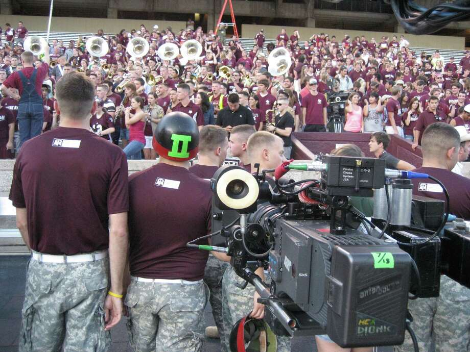 "Texas A&M students gather at Kyle Field on Tuesday night for the chance to be part of an ESPN ""GameDay"" promotional spot. Photo: Brent Zwerneman"
