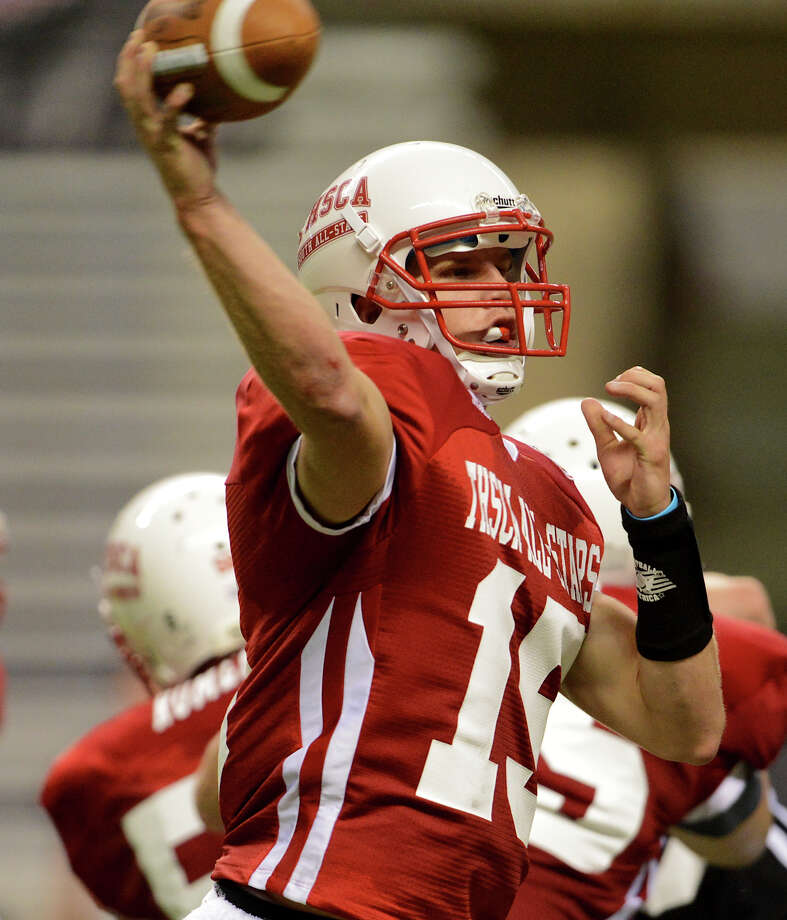 Warren quarterback Rex Dausin (15) throws a pass during the 2012 Texas high school coaches association all-star football game on July 31, 2012 at the Alamodome. Photo: JOHN ALBRIGHT, John Albright, For The Express-News / San Antonio Express-News