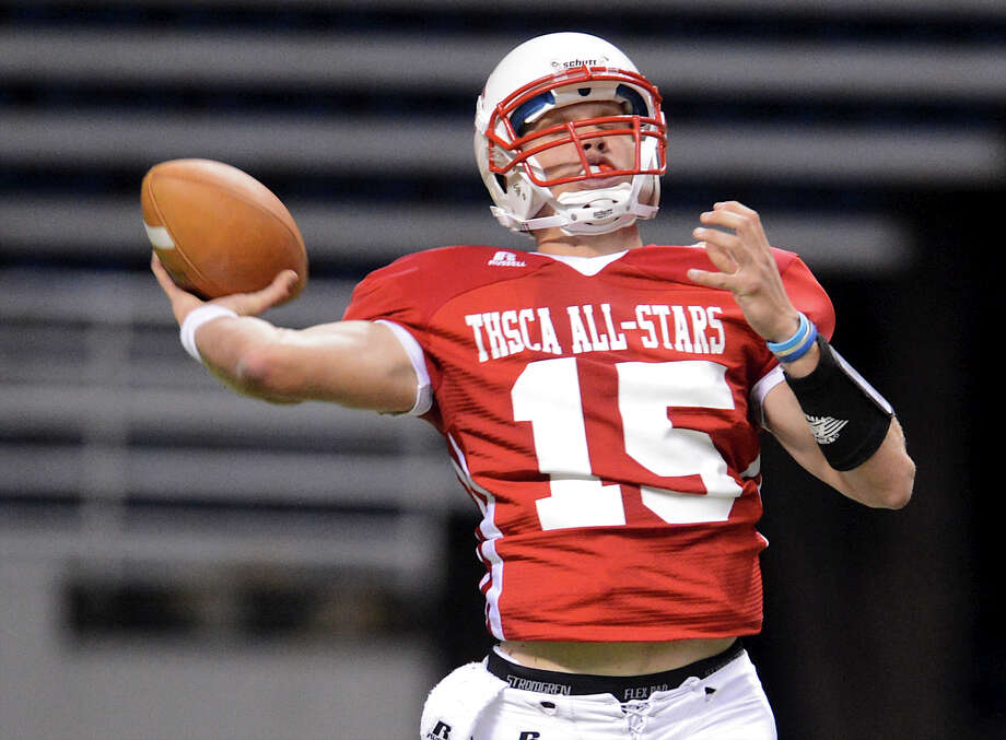 Warren quarterback Rex Dausin (15) trows a pass during the 2012 Texas high school coaches association all-star football game on July 31, 2012 at the Alamodome. Photo: JOHN ALBRIGHT, John Albright, For The Express-News / San Antonio Express-News