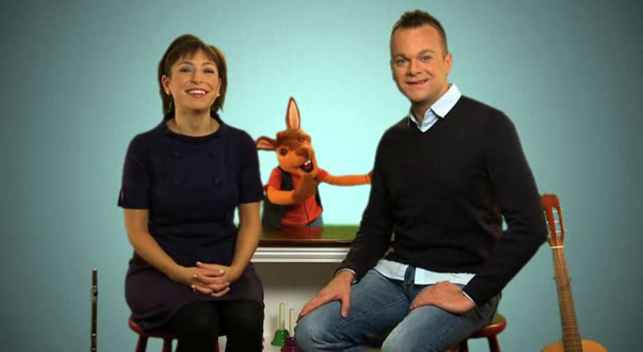 Monica Fitzgerald and Mike Messina, elementary music teachers in New Canaan, sit with Randy the Rhythm Rabbit on the set of Mike and Monica's Music Room, their web-based children's show that will eventually be released to get kids everywhere excited about music education. Friday, August 3, 2012. New Canaan, Conn. Photo: Contributed