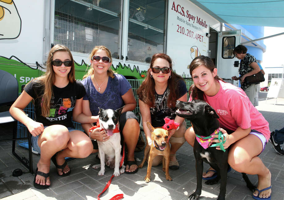 "Guardian Angels Emery Weltens (from left), Krishna Weltens, Alma Benavides and Margaret Cannata turn out for the Animal Care Services' ""Olympawcs"" adoption event at Gillman Honda. Photo: Leland A. Outz, For The Express-News / SAN ANTONIO EXPRESS-NEWS"