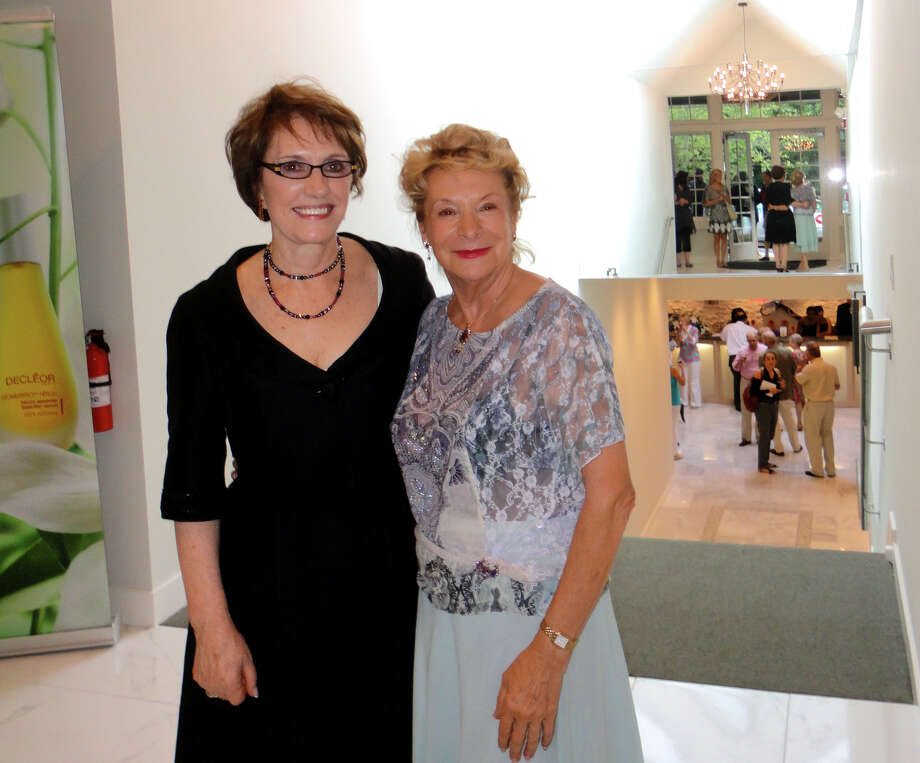 Eileen Lanphier Rizvi, owner of Lanphier Day Spa in Darien, poses with Solange Dessimoulie, the founder of Decleor, who arrived from Paris for the Grand Opening of the spa's new location  in Darien, Conn. on Wednesday July 25, 2012.  Lanphier is the first U.S. Flagship store and spa for Decleor Paris. Photo: Meg Barone / Stamford Advocate Freelance