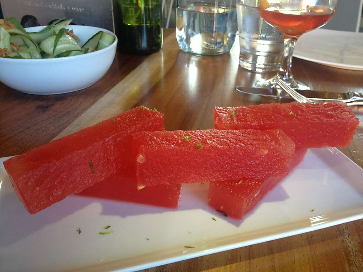 Compressed watermelon and kaffir lime from the Snacks section of the menu at Spoonbar in Healdsburg, July 2012