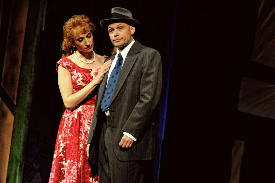 LORI ANN FREDA, left, plays Adelaide and Paul C. Kelly, is Nathan Detroit in the upcoming production of ??Guys and Dolls?? at Cohoes Music Hall. (THERESA M. THIBODEAU photo)