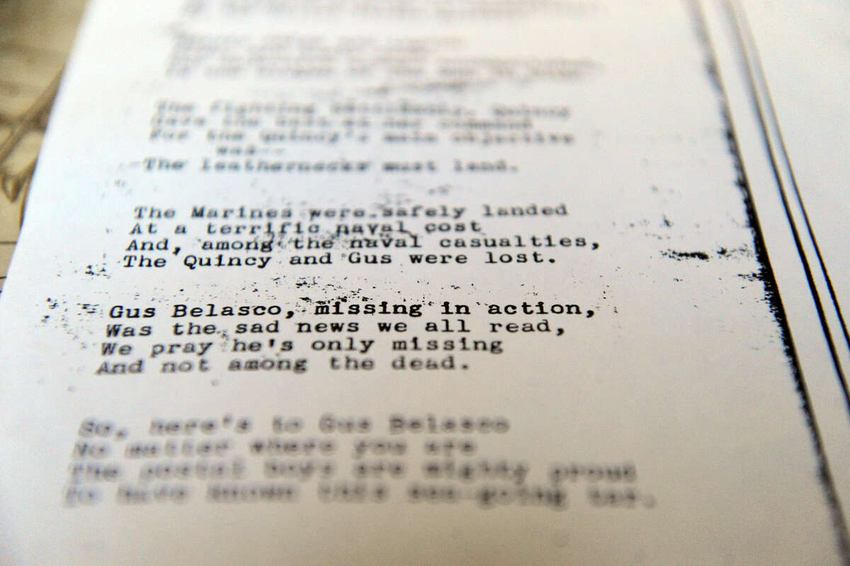 A poem singing the praises of Gustave Belasco WT 2nd Class, who was missing at the time but later determined to be killed in action, written by a co-worker in the postal service. Belasco was killed in the Guadalcanal battle during World War II, August 9 is the 70th anniversary of the battle.