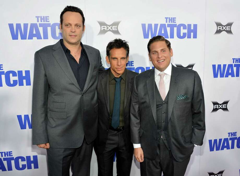 "HOLLYWOOD, CA - JULY 23:  (L-R) Actors Vince Vaughn, Ben Stiller, and Jonah Hill arrive at the premiere of Twentieth Century Fox's ""The Watch"" at Grauman's Chinese Theatre on July 23, 2012 in Hollywood, California.  (Photo by Alberto E. Rodriguez/Getty Images) Photo: Alberto E. Rodriguez / 2012 Getty Images"