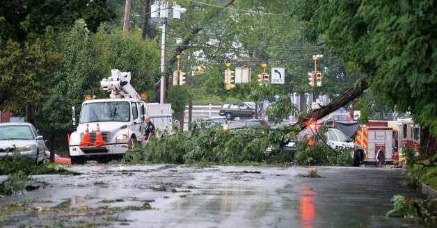 A fallen tree blocks McClellan Street near Eastern Avenue in Schenectady following a brief thunderstorm on Wednesday, Aug. 1, 2012.   (John Carl D'Annibale / Times Union) Photo: John Carl D'Annibale