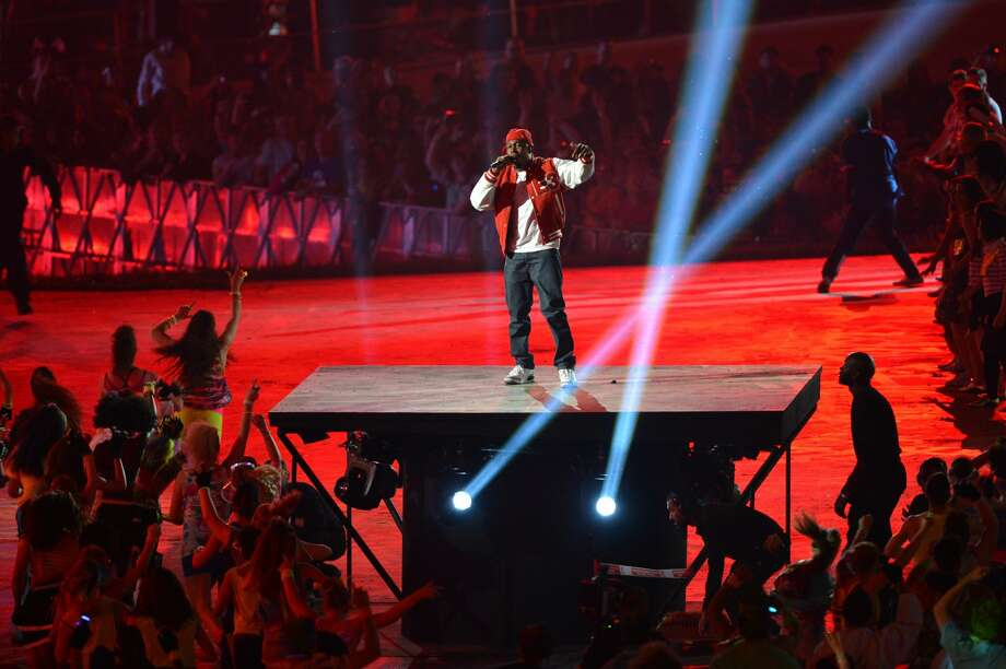 Singer Dizzee Rascal performs during the opening ceremony of the London 2012 Olympic Games on July 27, 2012 at the Olympic stadium in London. (Ben Stansall/Getty) (BEN STANSALL / AFP/Getty Images)