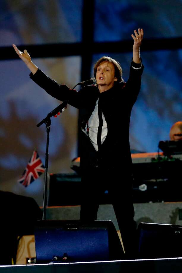 Sir Paul McCartney performs during the Opening Ceremony of the London 2012 Olympic Games at the Olympic Stadium on July 27, 2012 in London, England.  (Photo by Pool/Getty) (Pool / Getty Images)