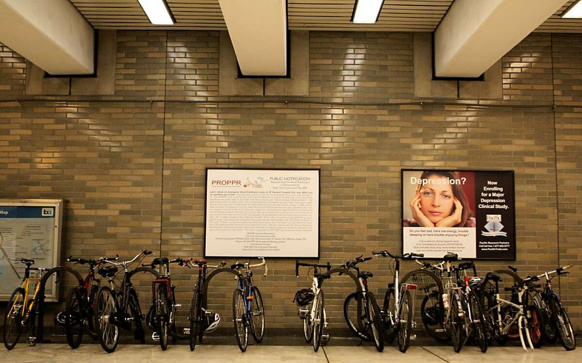 Bicycles are seen at the Civic Center BART station on Tuesday, July 31, 2012, in San Francisco, Calif.