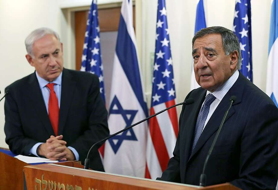 Israeli Prime Minister Benjamin Netanyahu (L) listens as US Defence Secretary Leon Panetta (R) speaks to the media before their meeting at the Prime Ministers office in Jerusalem on August 1, 2012. Panetta is on a four-day trip to the Middle-East with stops in Tunisia, Egypt, Israel and Jordan before returning to Washington. AFP PHOTO/POOL/MARK WILSONMARK WILSON/AFP/GettyImages Photo: Mark Wilson, AFP/Getty Images