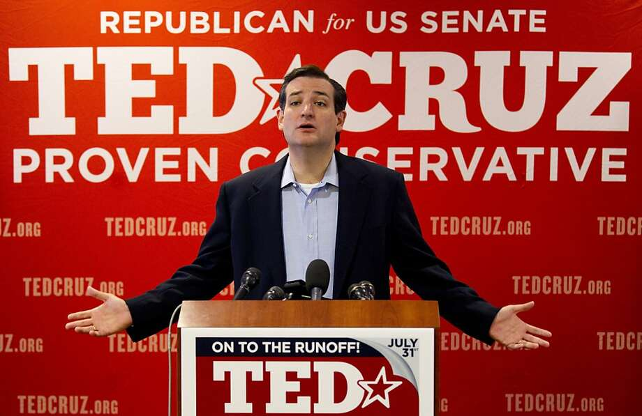 """Ted Cruz, Republican candidate for U.S. Senate, speaks to the media, the day after defeating Lt. Gov. David Dewhurst in a runoff primary election, Wednesday, Aug. 1, 2012, in Houston. Cruz says his tea party supporters who helped him pull off an upset in the Republican primary runoff are """"everyday Texans"""" who want common sense answers to problems plaguing the country. (AP Photo/Houston Chronicle, Brett Coomer) Photo: Brett Coomer, Associated Press"""