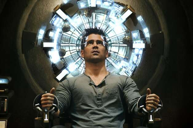 "Colin Farrell's character sits in the Mind Trip Chair inside the Rekall Tripping Den in ""Total Recall."" Photo: Michael Gibson, Columbia Pictures"