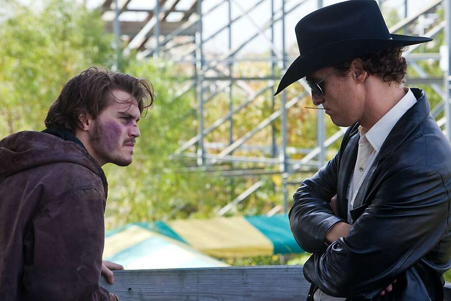 "Matthew McConaughey (right, with Emile Hirsch) hits all the right notes in ""Killer Joe."" Photo: Skip Bolen, LD Entertainment"
