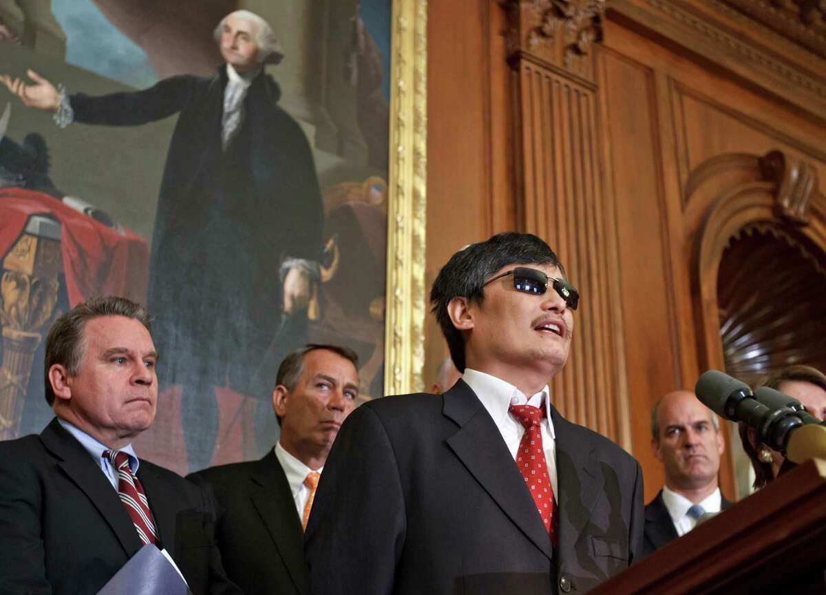 Blind Chinese dissident Chen Guangcheng on Wednesday said he hopes international pressure will force his nation to grant greater freedom to its people.