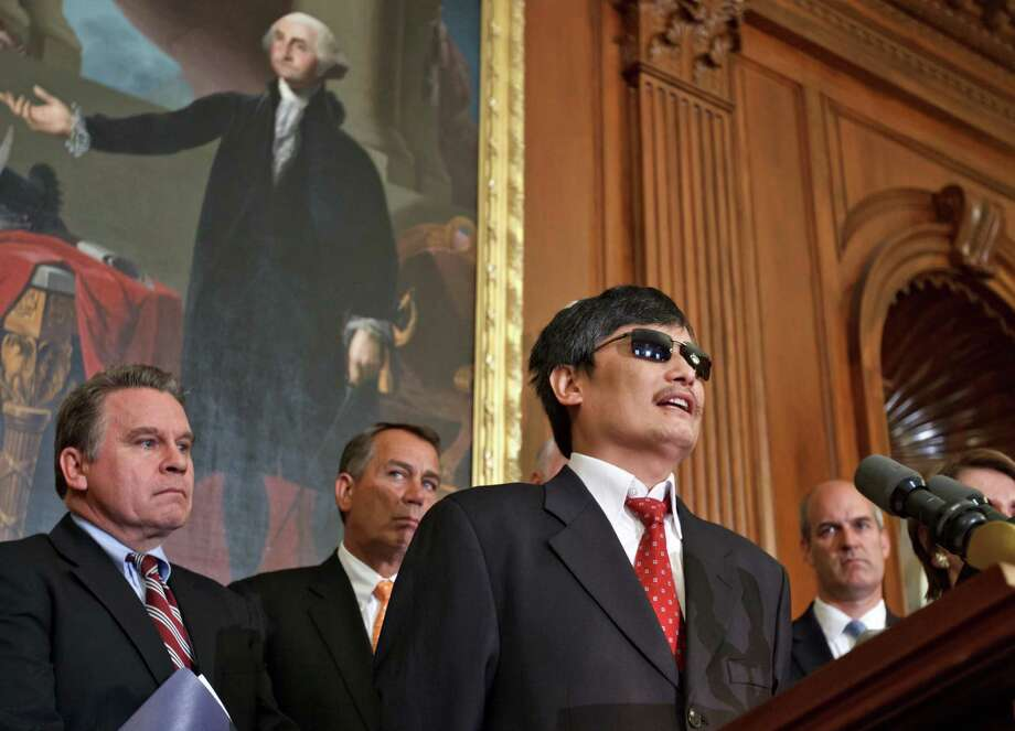 Blind Chinese dissident Chen Guangcheng on Wednesday said he hopes international pressure will force his nation to grant greater freedom to its people. Photo: J. Scott Applewhite / AP