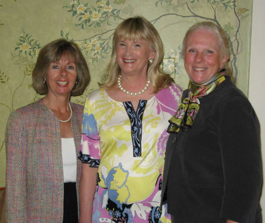 New Canaan residents Nancy Rauscher(center) and Janet Lebovitz (right) received awards for their work on the Development Committee of the Board of Directors. They are pictured here with Sharon M. Bradley, President and CEO of Visiting Nurse & Hospice of Fairfield County. Photo: Contributed Photo