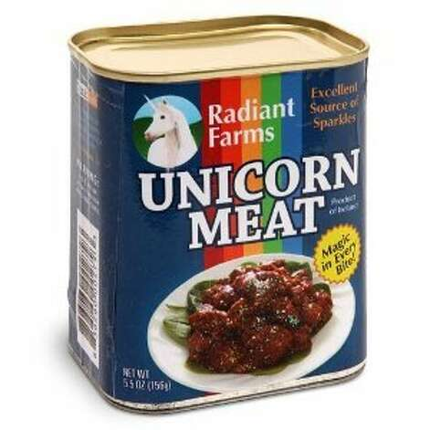 "UNICORN MEAT: How convenient that you can buy this in a can! The description tells us it's an ""excellent source of sparkles.""(View on Amazon.)"