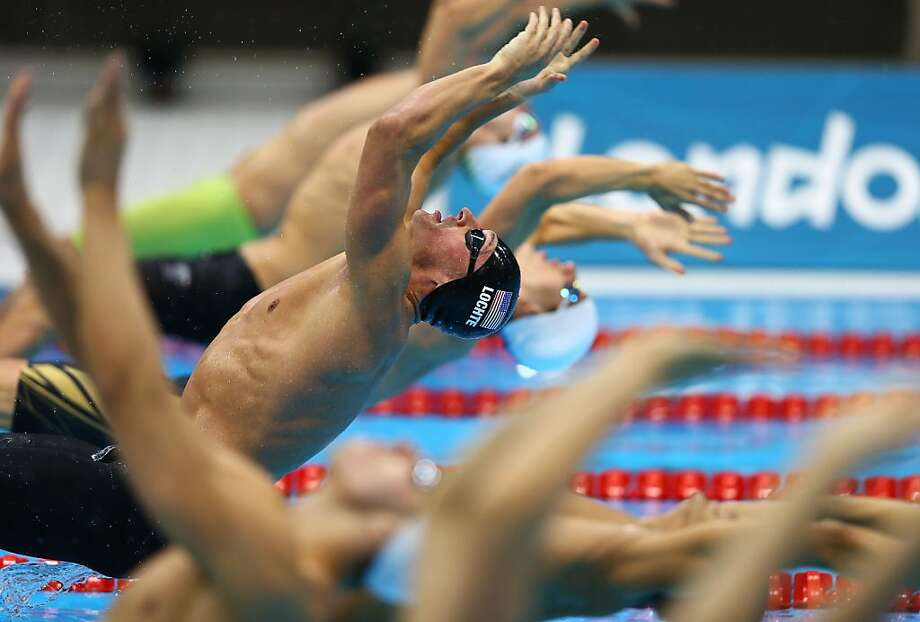 LONDON, ENGLAND - AUGUST 01:  Ryan Lochte of the United States pushes off of the wall in the first semifinal heat of the Men's 200m Backstroke on Day 5 of the London 2012 Olympic Games at the Aquatics Centre on August 1, 2012 in London, England.  (Photo by Al Bello/Getty Images) Photo: Al Bello, Getty Images