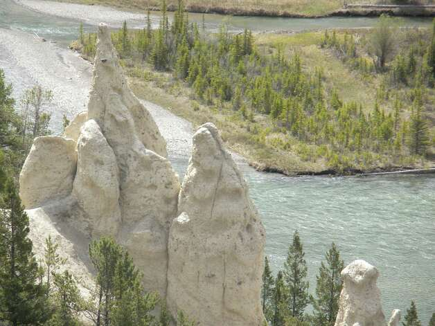 Hoodoos, like the one seen here in this photo by Janice Jaskolka Golden of Clifton Park, during recent trip to Bow Falls in Banff, Alberta, Canada, are shaped by wind and water while preserved by a hard cap of rock at the peak.  (Janice Jaskolka Golden)