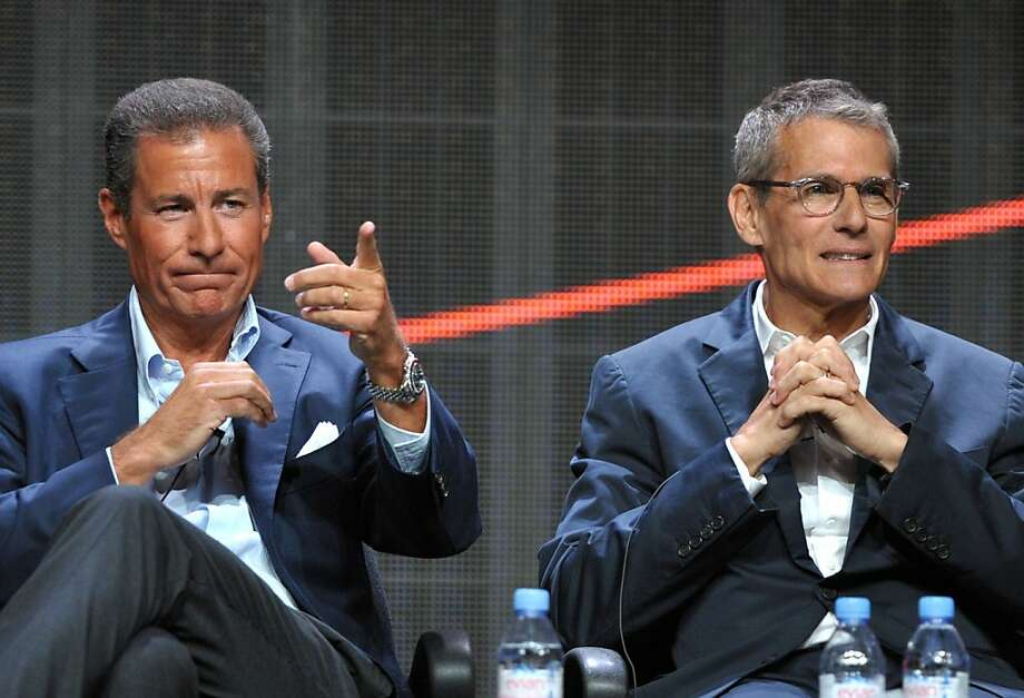 HBO's Richard Plepler, left, and Michael Lombardo appear onstage during HBO's TCA panel at the Beverly Hilton hotel on Wednesday, Aug. 1, 2012, in Beverly Hills, Calif. (Photo by John Shearer/Invision/AP) Photo: John Shearer, Associated Press