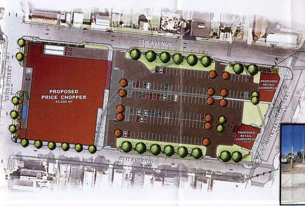 Rendering of the proposed Price Chopper site at St. Patrick's Church in Watervliet, N.Y. (City of Watevliet from Nigro Companies proposal)