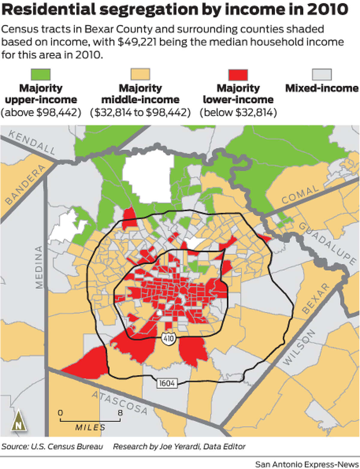 Census tracts in Bexar County and surrounding counties shaded based on income, with $49,221 being the median household income for this area in 2010.