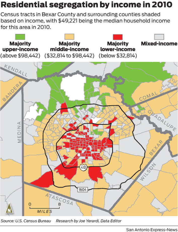 Census tracts in Bexar County and surrounding counties shaded based on income, with $49,221 being the median household income for this area in 2010. Photo: Mike Fisher