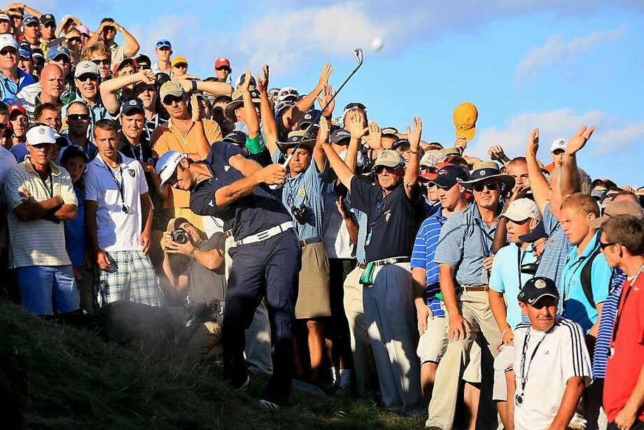 KOHLER, WI - AUGUST 15:  Dustin Johnson hits his second shot on the 18th hole during the final round of the 92nd PGA Championship on the Straits Course at Whistling Straits on August 15, 2010 in Kohler, Wisconsin. Photo: Andy Lyons, Getty Images