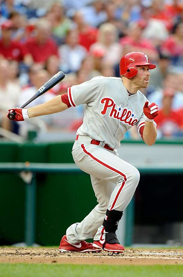WASHINGTON, DC - AUGUST 01:  Nate Schierholtz #22 of the Philadelphia Phillies hits a single in the third inning against the Washington Nationals at Nationals Park on August 1, 2012 in Washington, DC.  (Photo by Greg Fiume/Getty Images) Photo: Greg Fiume, Getty Images
