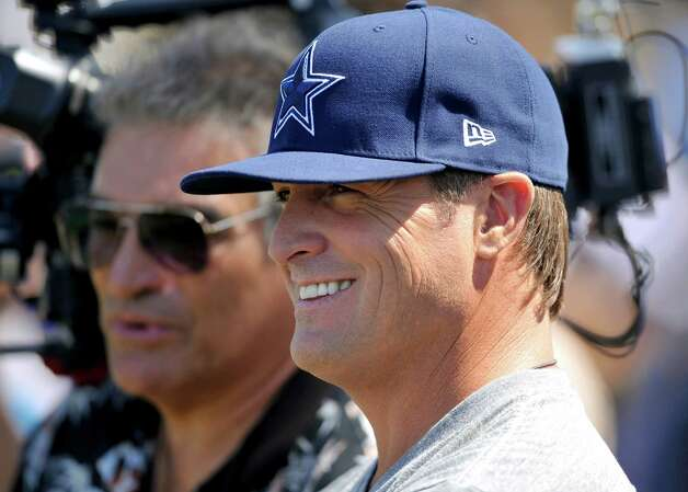 Actor George Eads watches the Dallas Cowboys from the sidelines during their NFL football training camp, Wednesday, Aug. 1, 2012, in Oxnard, Calif. (AP Photo/Gus Ruelas) Photo: Gus Ruelas, Associated Press / FR157633 AP