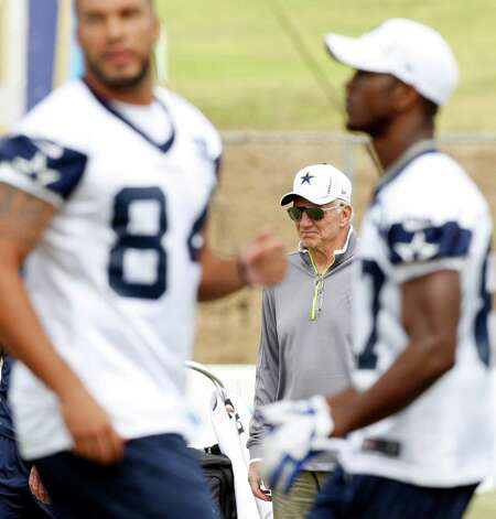 Dallas Cowboys owner Jerry Jones (center) watches practice during 2012 training camp held Wednesday Aug 1, 2012 in Oxnard, CA. Photo: Edward A. Ornelas, San Antonio Express-News / © 2012 San Antonio Express-News