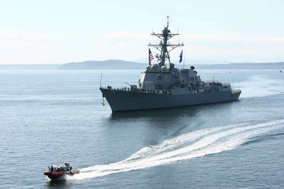 The USS Halsey (DDG-97) cruises to the Seattle waterfront during the annual Seafair Fleet Week Parade of Ships on Wednesday, August 1, 2012 on Elliott Bay. Photo: JOSHUA TRUJILLO / SEATTLEPI.COM