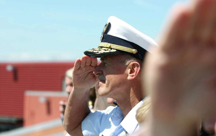 U.S. Coast Guard Vice Admiral Paul Zukunft, salutes during the annual Seafair Fleet Week Parade of Ships on Wednesday, August 1, 2012 on Elliott Bay. Photo: JOSHUA TRUJILLO / SEATTLEPI.COM