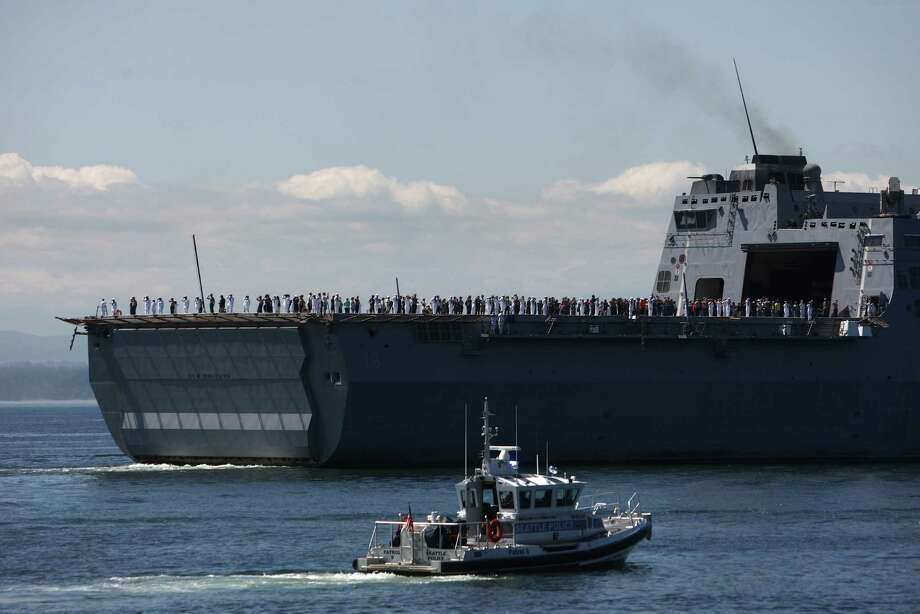 The USS New Orleans (LPD 18) passes the review stand during the annual Seafair Fleet Week Parade of Ships on Wednesday, August 1, 2012 on Elliott Bay. Photo: JOSHUA TRUJILLO / SEATTLEPI.COM