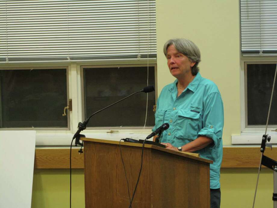 Choose to Reuse Member Nina Miller tells the Environmental Protection Commission about some common misconceptions of the proposed bag ban ordinance at its meeting on Wednesday, Aug. 1, 2012. Darien, Conn. Photo: Thomas Michael
