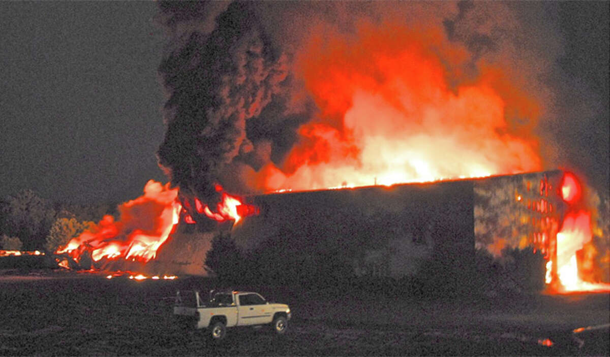 A massive fire burns at TCI of New York in West Ghent on Thursday, Aug. 2, 2012. (Lance Wheeler / Special to the Times Union)