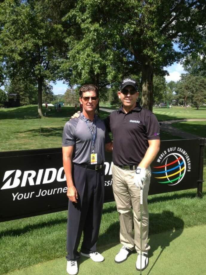 Lamar golf coach Brian White with former Lamar golfer Oliver Bekker, who makes his PGA Tour debut Aug. 2 at the Bridgestone Invitational, a World Golf Championship Event. White will serve as a caddy for Bekker. Photo: Lamar Sports Information