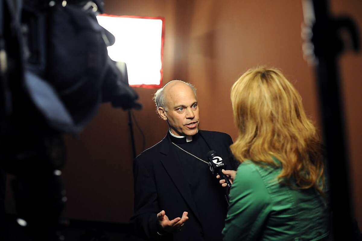 Newly appointed Archbishop Coridileone speaks to the media during a conference held at St. Mary's Cathedral in San Francisco Friday July 27th, 2012. Archbishop-elect Salvatore J. Cordileone, 56, was named the Metropolitan Archbishop of San Francisco by Pope Benedict XVI, the Vatican announced early Friday.