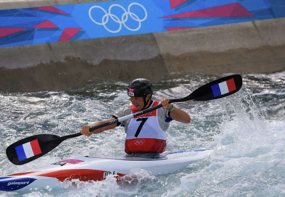 LONDON, ENGLAND - AUGUST 02:  Emile Fer of France competes in the Women's Kayak Single (K1) Slalom  on Day 6 of the London 2012 Olympic Games at Lee Valley White Water Centre on August 2, 2012 in London, England. Photo: Phil Walter, Getty Images / 2012 Getty Images