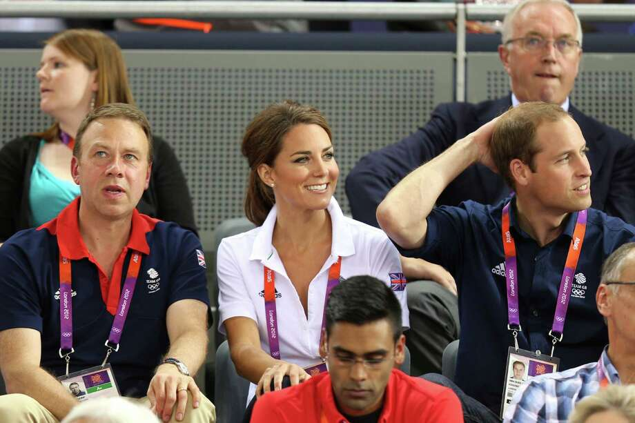 LONDON, ENGLAND - AUGUST 02:  Catherine, Duchess of Cambridge and Prince William, Duke of Cambridge sit with Andy Hunt, Chef de Mission for Great Britain as they watch the track cycling on Day 6 of the London 2012 Olympic Games at Velodrome on August 2, 2012 in London, England. Photo: Bryn Lennon, Getty Images / 2012 Getty Images