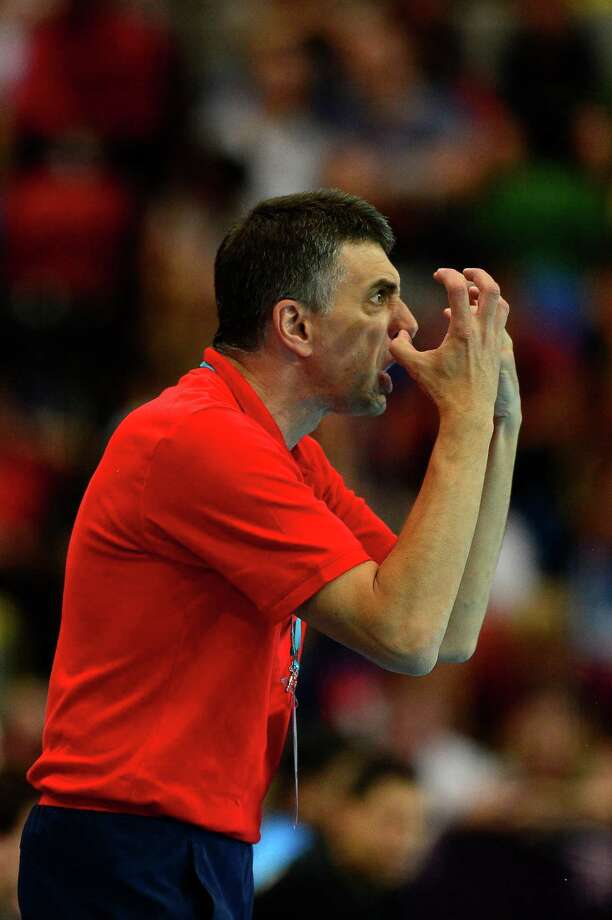 Britain's coach Dragan Djukic reacts during the men's preliminary Group A handball match Great Britain vs Argentina for the London 2012 Olympics Games on August 2, 2012 at the Copper Box hall in London. AFP PHOTO/ JAVIER SORIANOJAVIER SORIANO/AFP/GettyImages Photo: JAVIER SORIANO, AFP/Getty Images / AFP