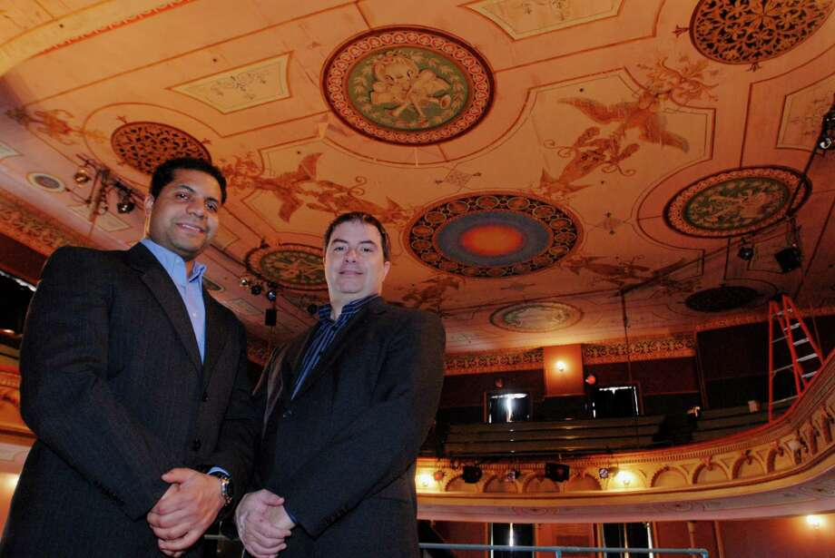 C-R Productions founders and co-directors Tony Rivera, left, and Jim Charles are shown at the Cohoes Music Hall in this 2007 photo. (Times Union archive) Photo: LMF / ALBANY TIMES UNION