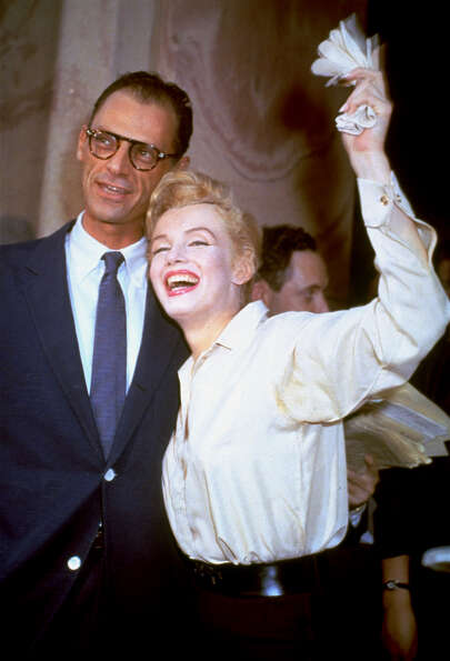 Newlyweds Marilyn Monroe and Arthur Miller are shown after their civil wedding ceremony in White Pla