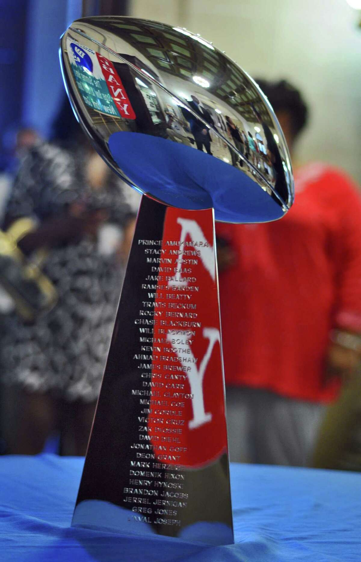 Visitors to the rotunda of City Hall were able to see the NFL's Vince Lombardi Trophy that the New York Giants received after winning last season's Super Bowl, on Thursday Aug. 2, 2012 in Albany, NY. (Philip Kamrass / Times Union)