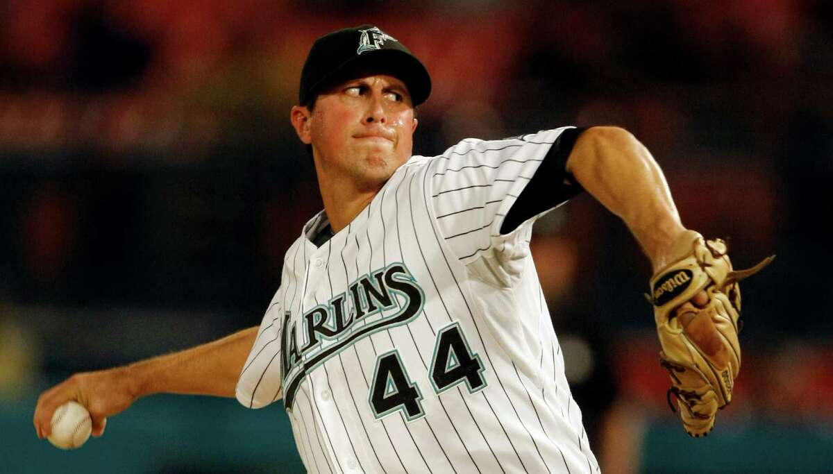 Florida Marlins' Brian Sanches pitches against the Houston Astros in the eighth inning of a baseball game in Miami, Thursday, Aug. 13, 2009. The Marlins won 9-2. (AP Photo/Alan Diaz)