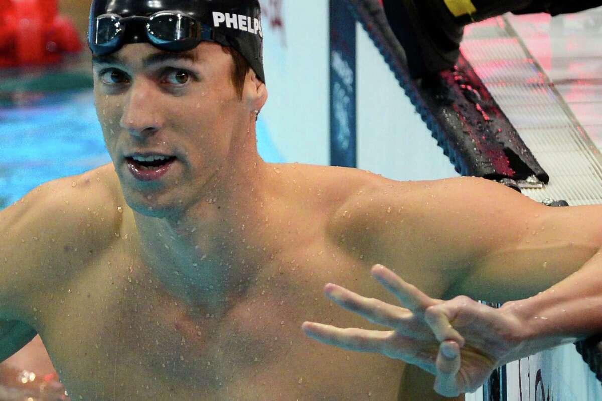 Michael Phelps gestures